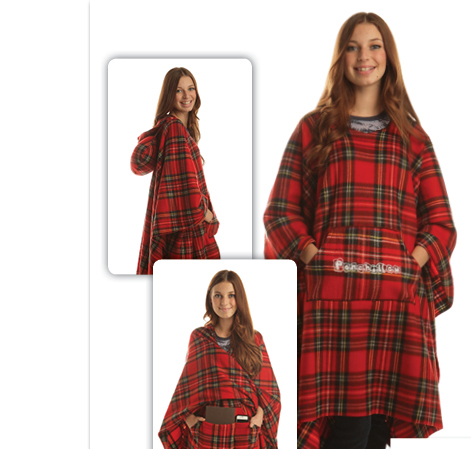 fleece poncho with pillow